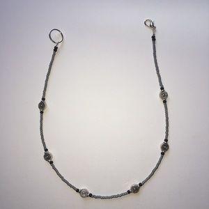 Matte blue grey transparent silver necklace
